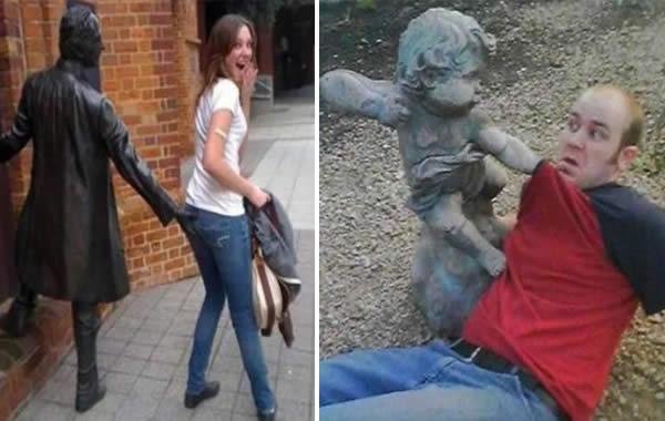 Imagenes Divertidas Estatuas Con Personas Graciosas
